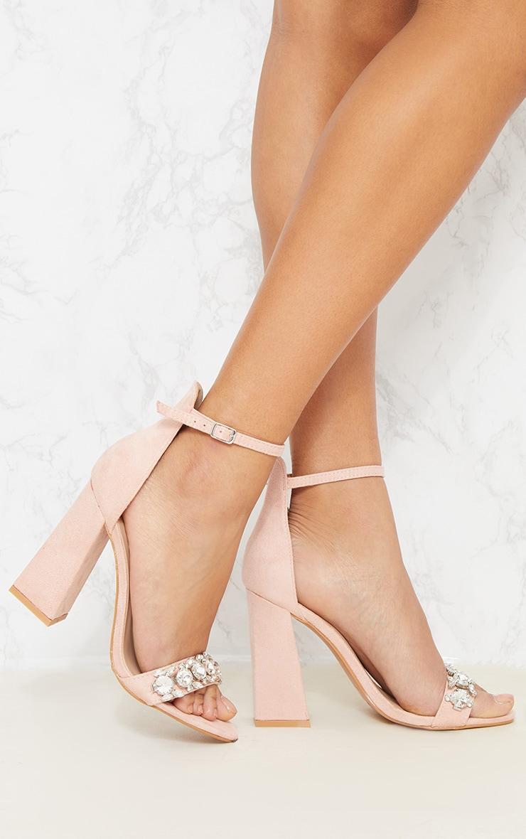 Nude Embellished Block Heel Sandal 1