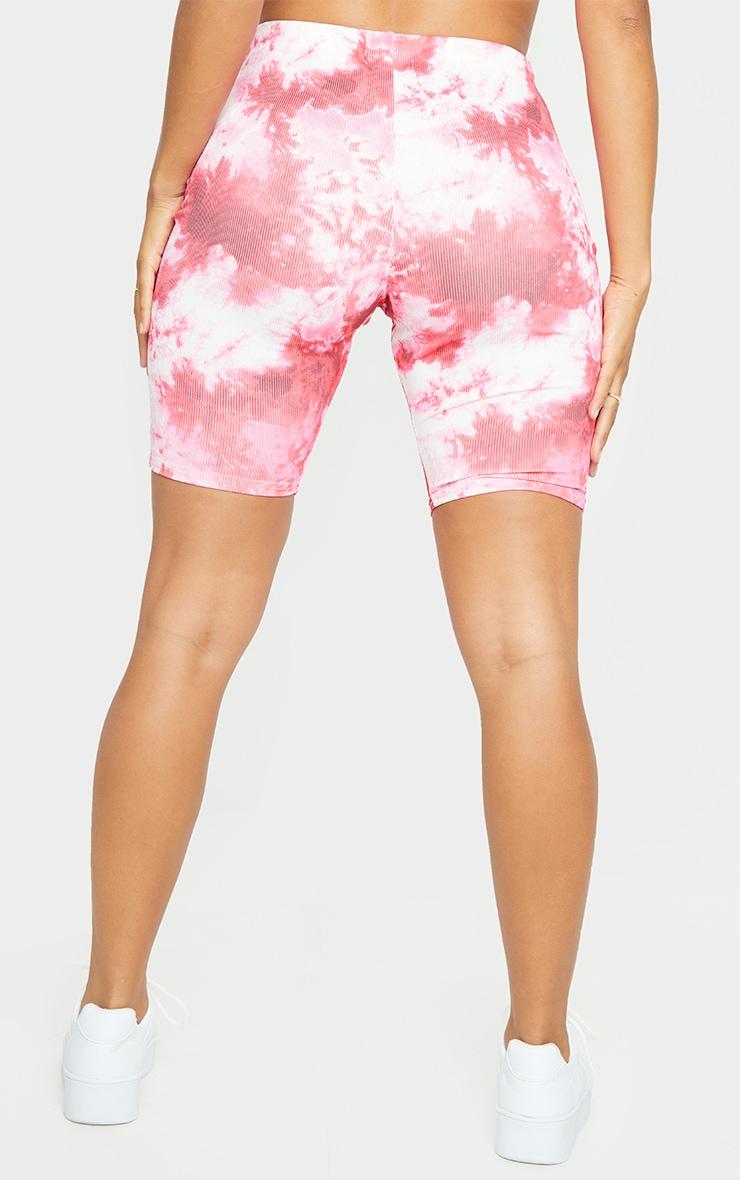 Shape Pink Tie Dye Rib Cycling Shorts 3