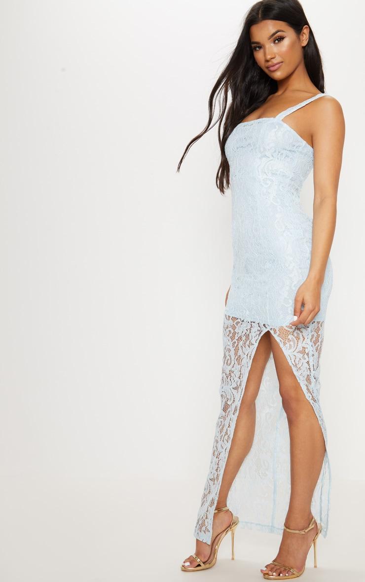 Dusty Blue Lace Square Neck Extreme Split Maxi Dress 4