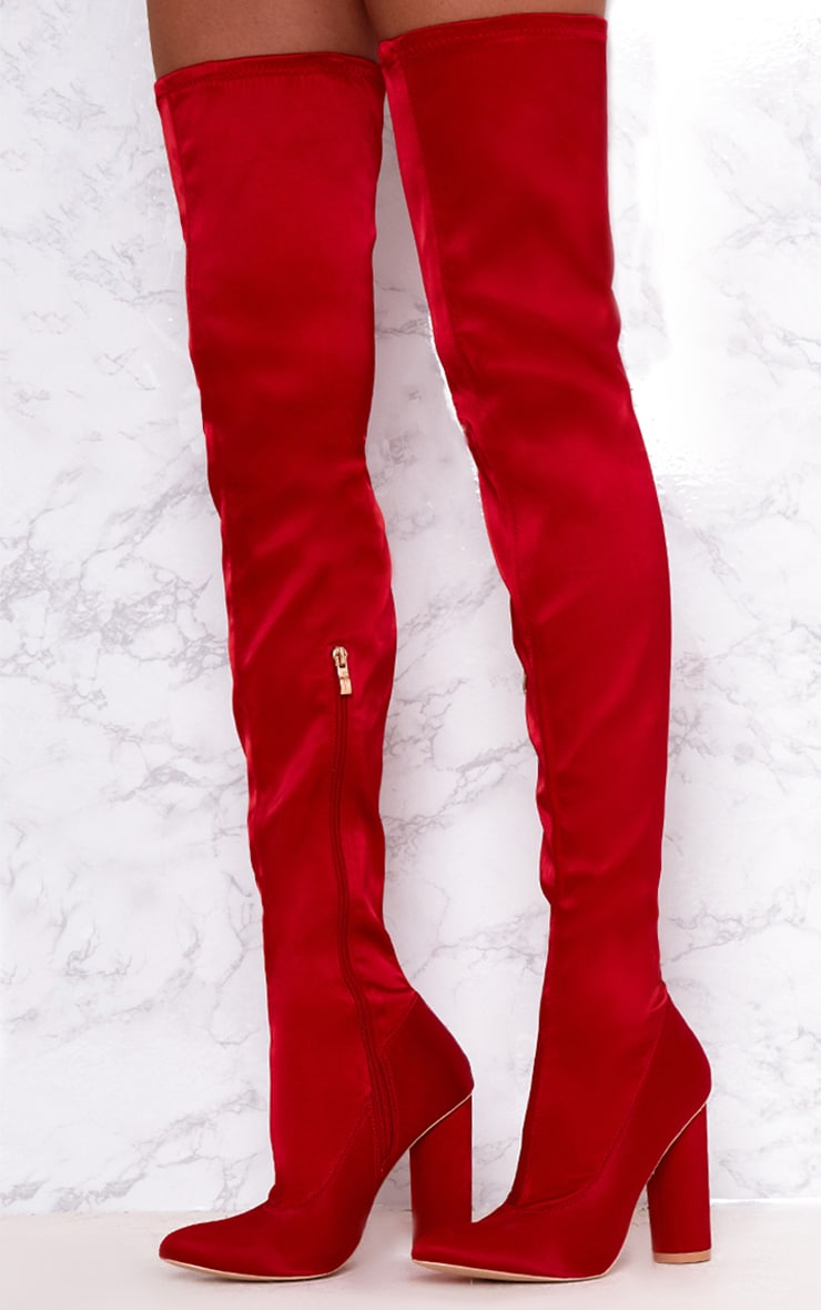 Red Stretch Satin Sock Thigh High Boots 2