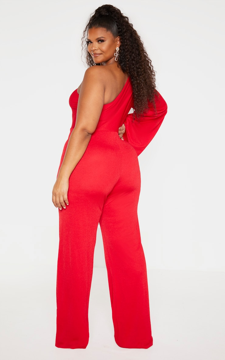 Plus Red One Shoulder Jumpsuit 2