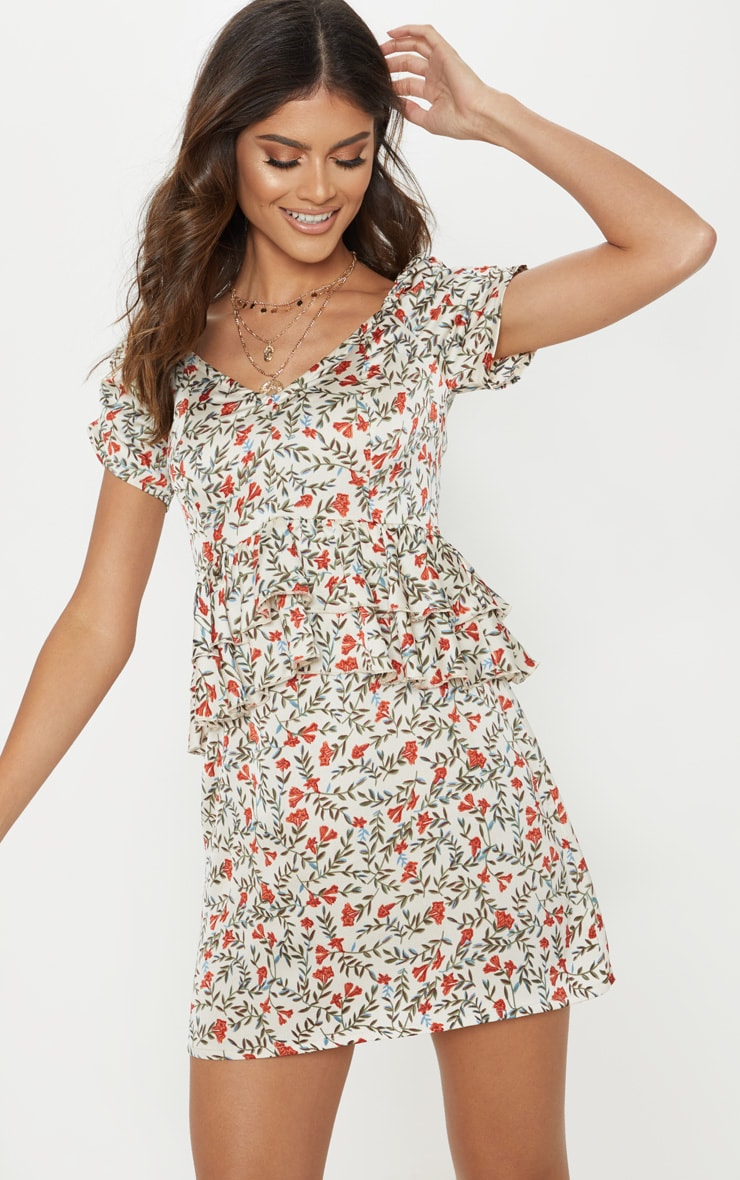 White Ditsy Floral Tiered Frill Mini Dress 4