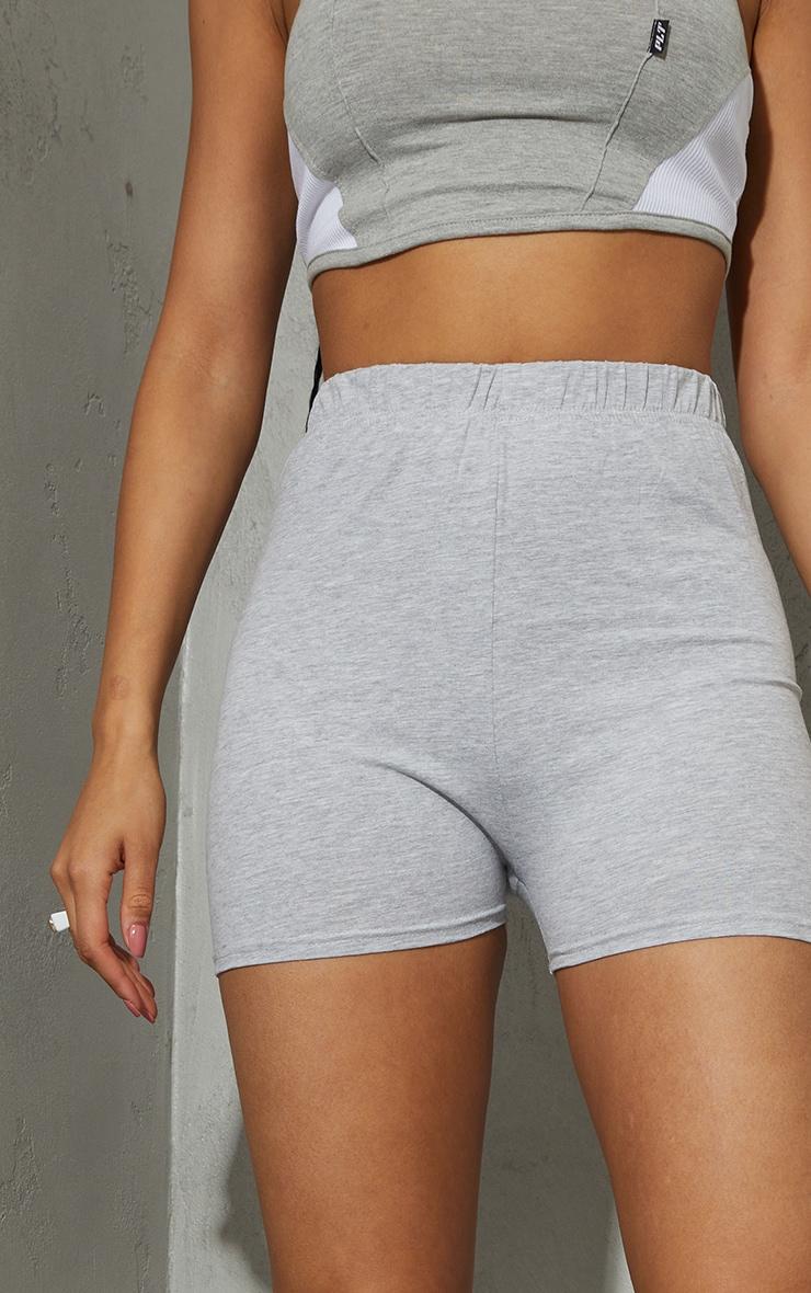 Basic Grey Cotton Blend High Waist Hot Pants 5