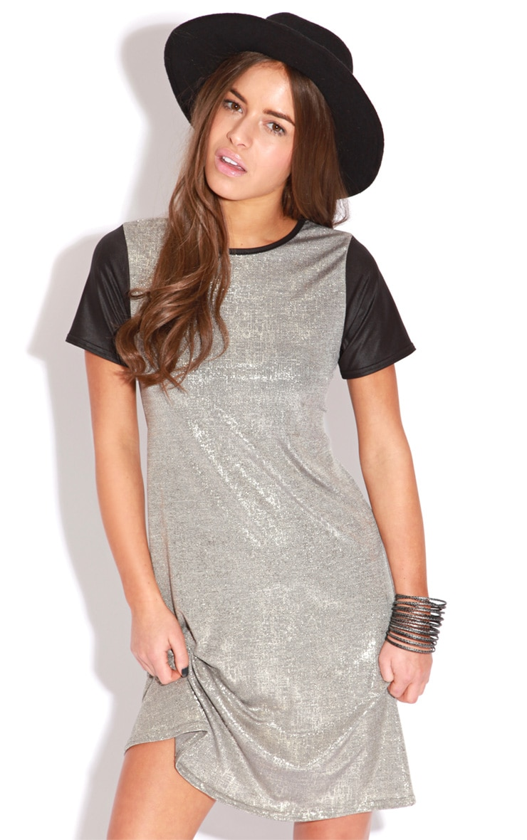 Bevan Gold Metallic Dress With Black Leather Capped Sleeves 5