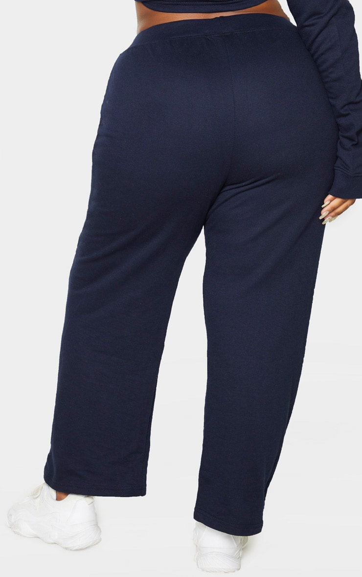 Plus Navy Sweat High Waisted Wide Leg Trouser 4
