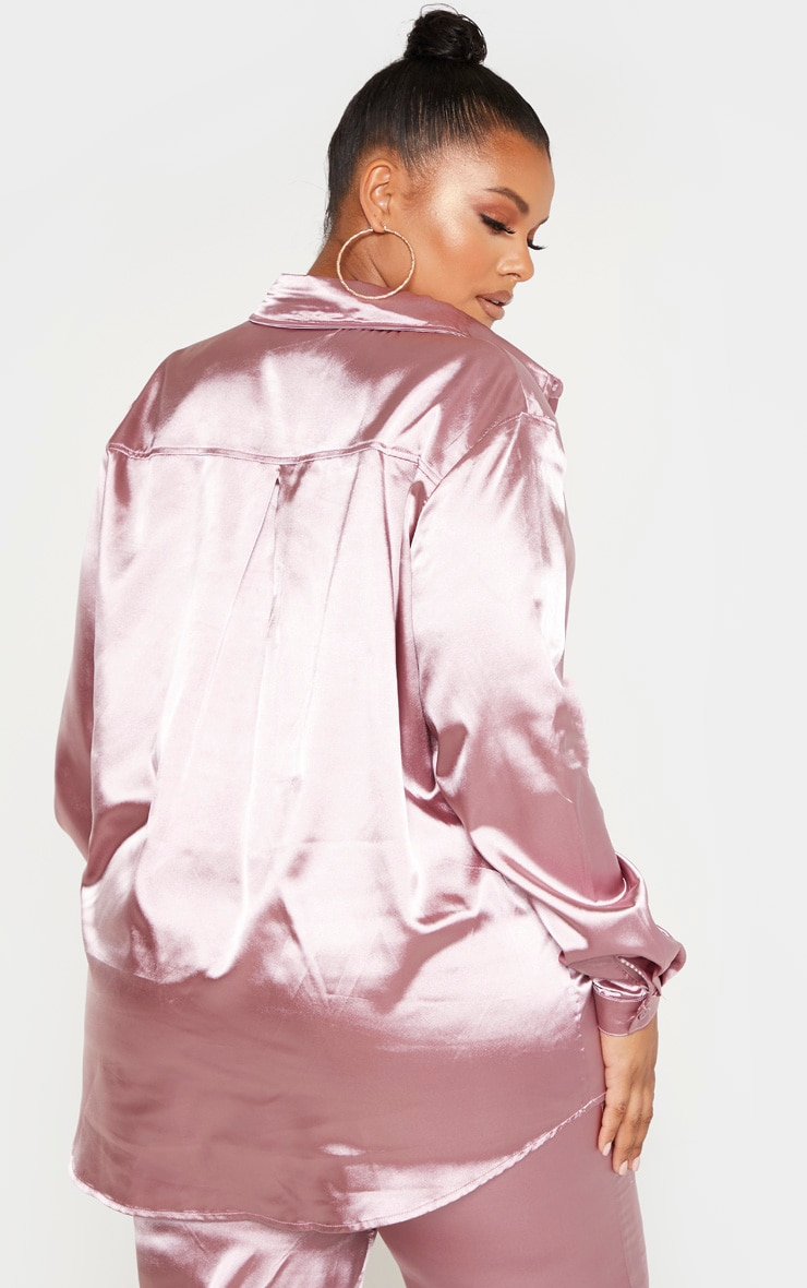 Plus Dusty Lilac Satin Oversized Shirt  2