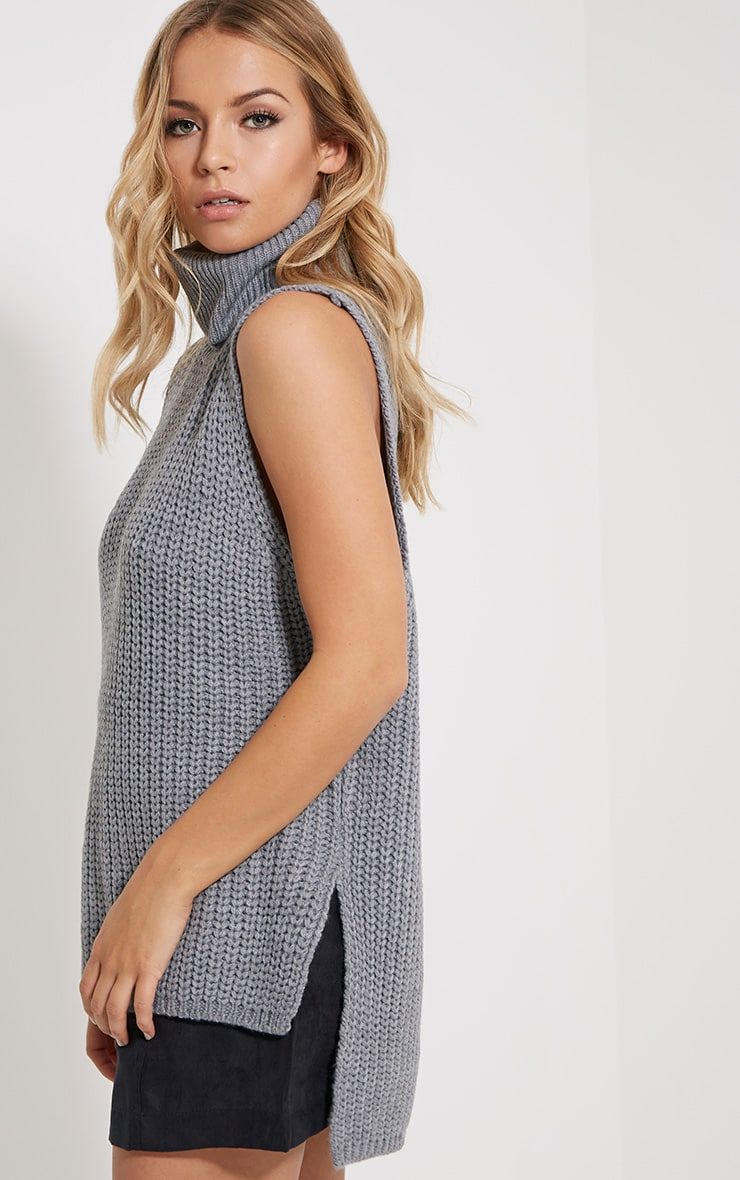 Lolla Grey Knitted Roll Neck Top 4