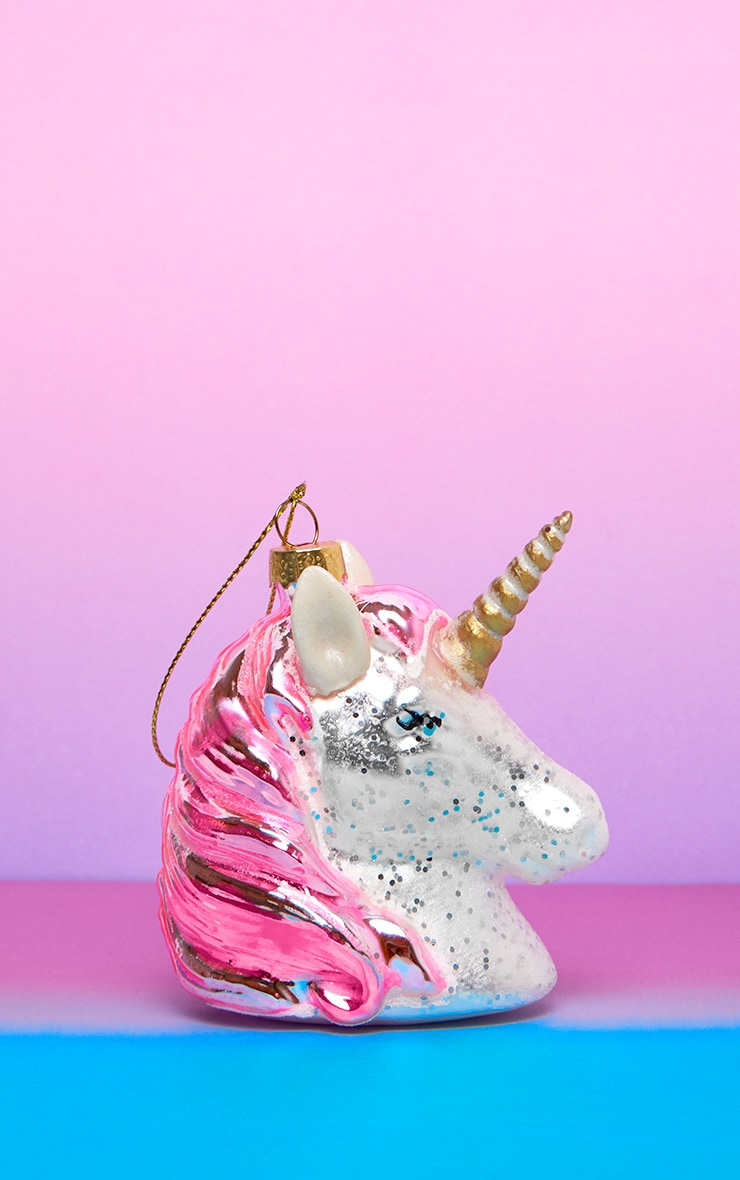 Sass & Belle Pink Shimmer Unicorn Head Shaped Bauble 1