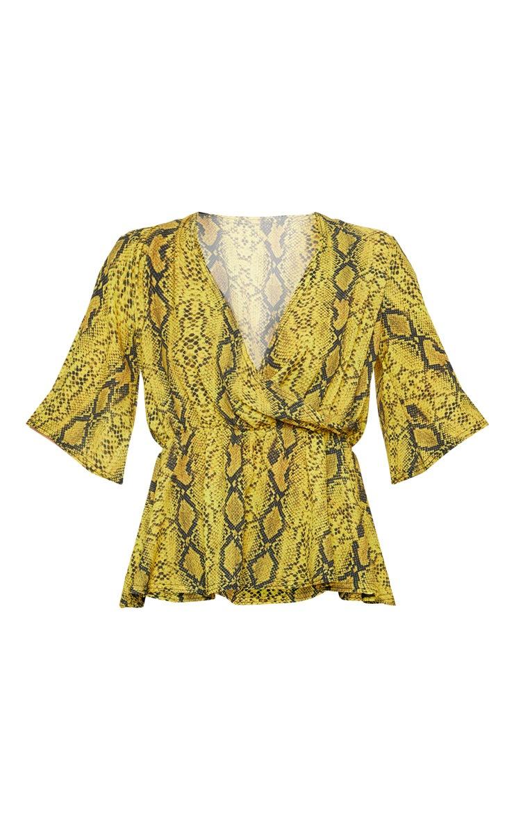 Yellow Snake Printed Wrap Blouse 3