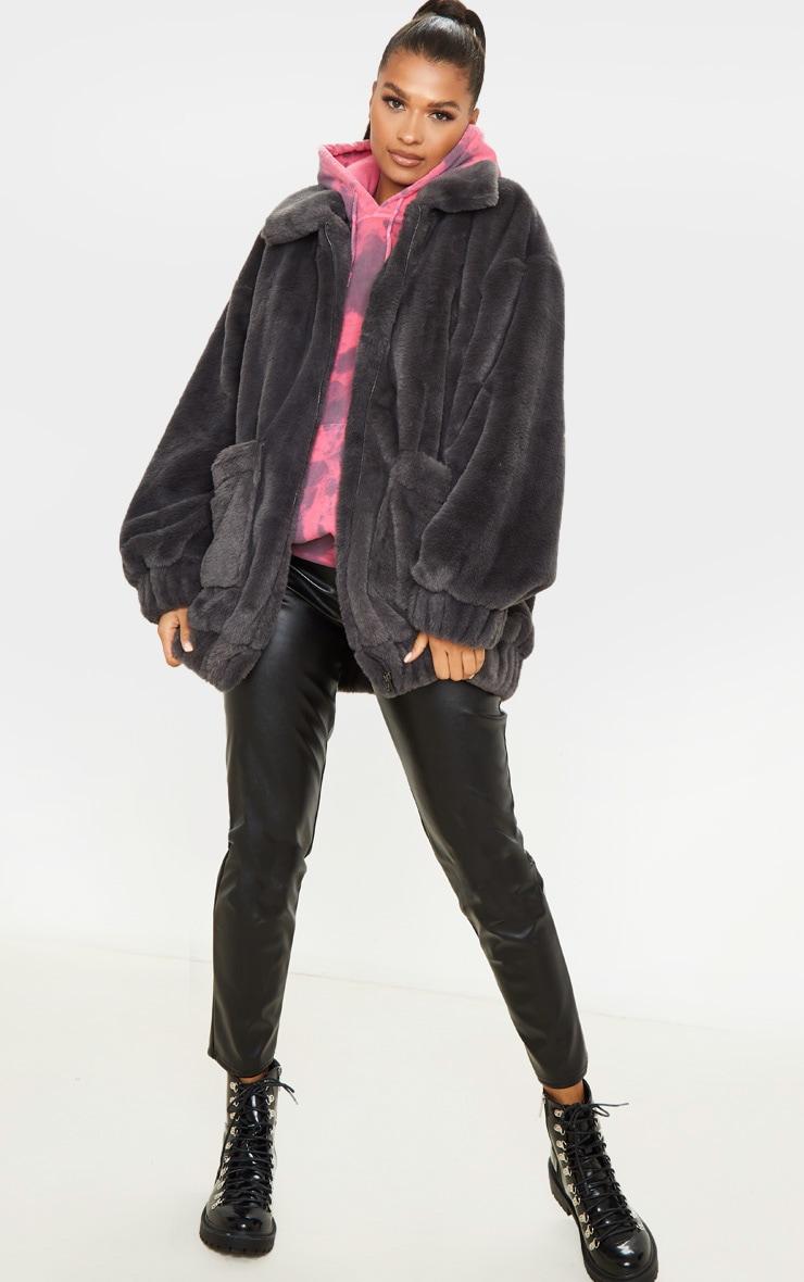 Grey Faux Fur Pocket Front Coat 4