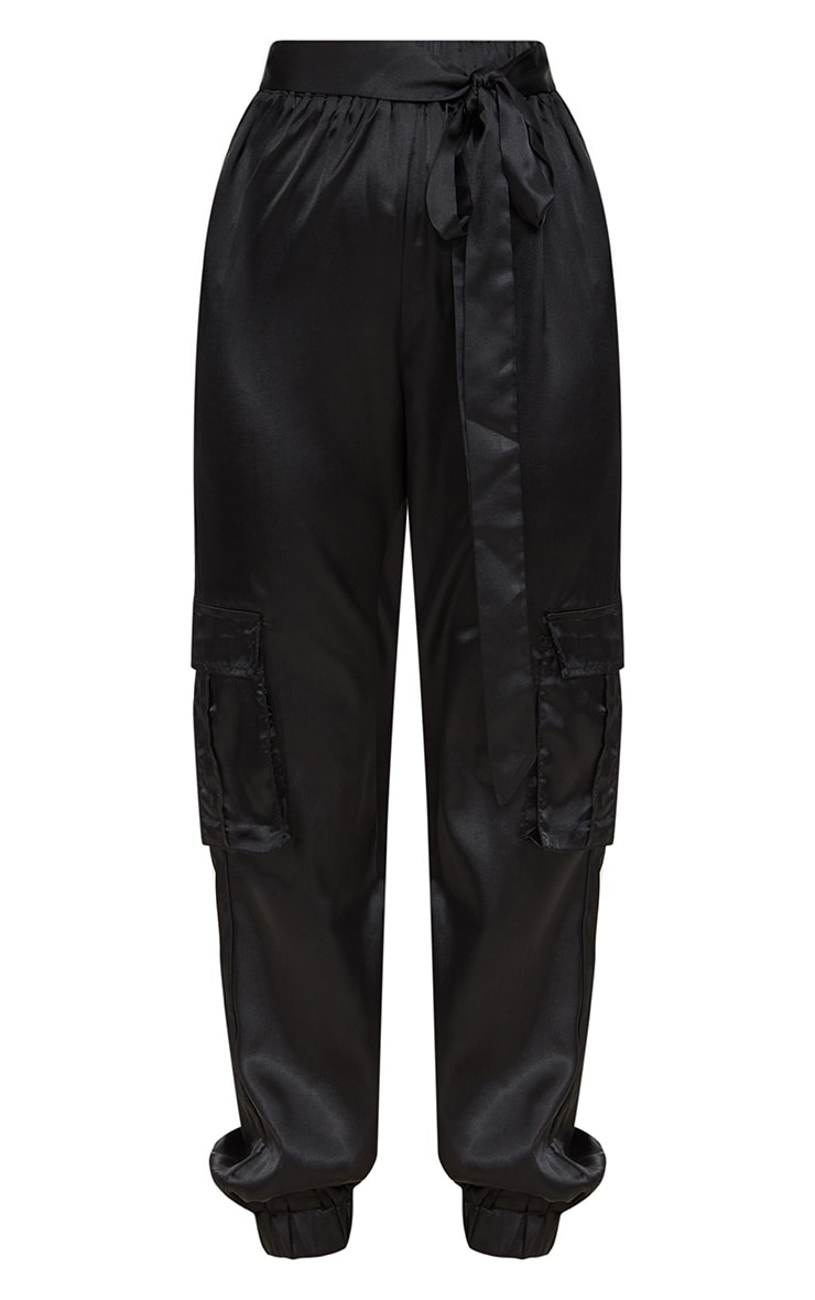 Petite Black Satin Cargo Pants 3