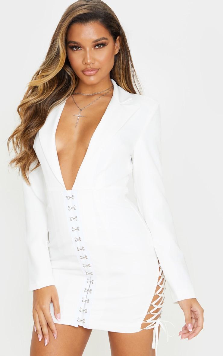 White Hook And Eye Lace Up Detail Long Sleeve Blazer Dress 1
