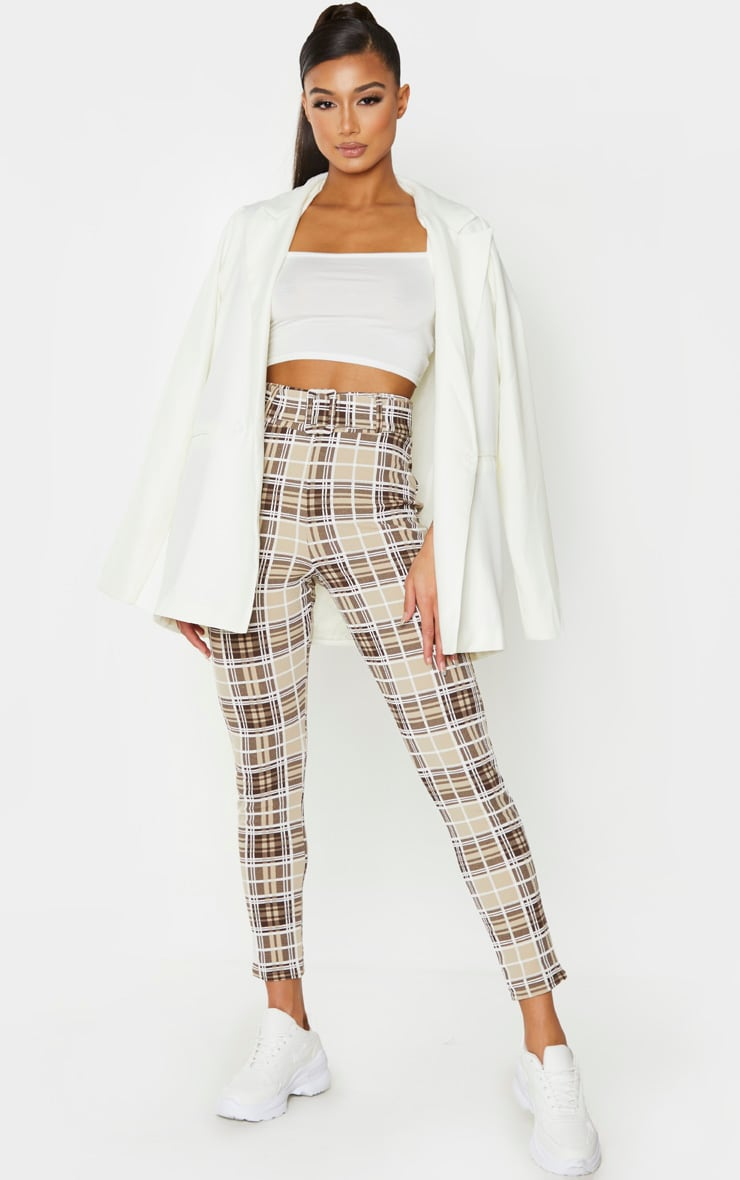 Stone Check Belted Skinny Trousers 1
