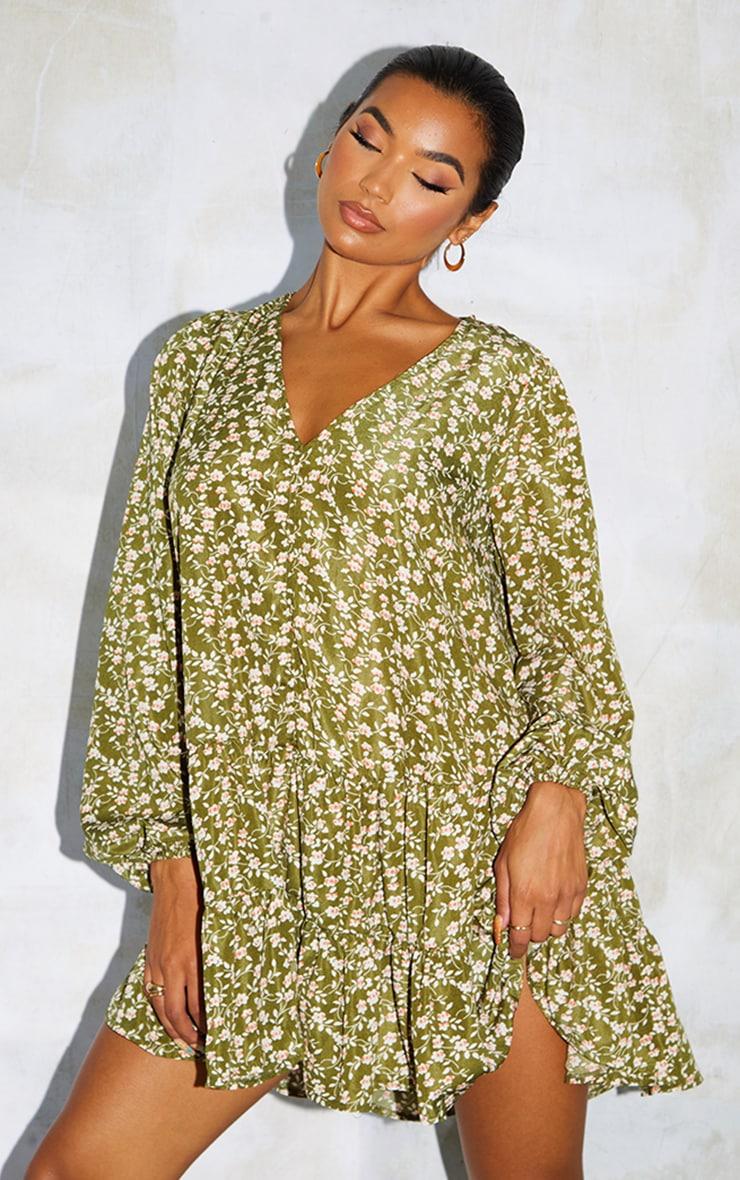 Green Print V Neck Tiered Balloon Sleeve Smock Dress 3