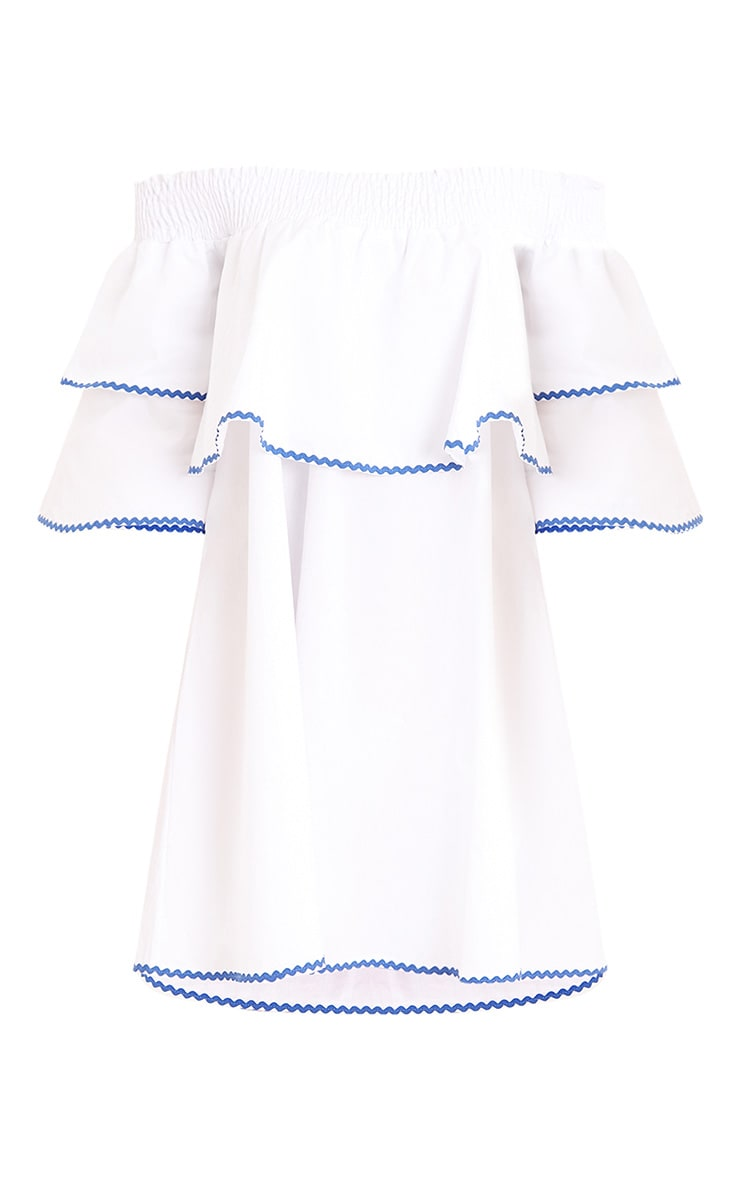 Cecillia Ruffle Blue Embroidered Shift Dress White 3