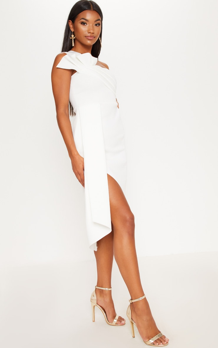 White Bonded Scuba Pleated Draped Midi Dress 4
