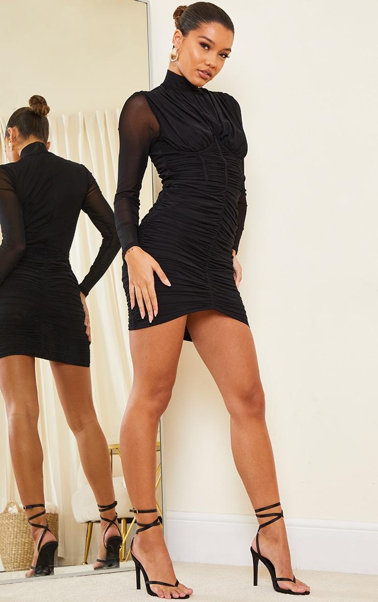 Black High Neck Mesh Ruched Binding Detail Bodycon Dress 3
