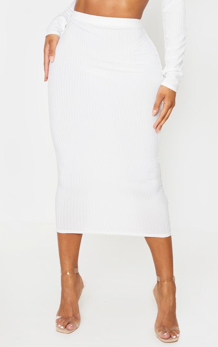 Shape Cream Ribbed High Waist Midi Skirt 2