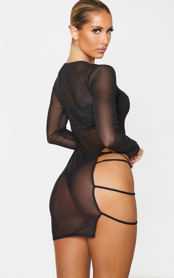 Black Cut Out Thigh Mesh Beach Dress 2