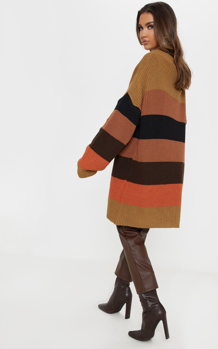 Rust Striped Knitted Cardigan 2