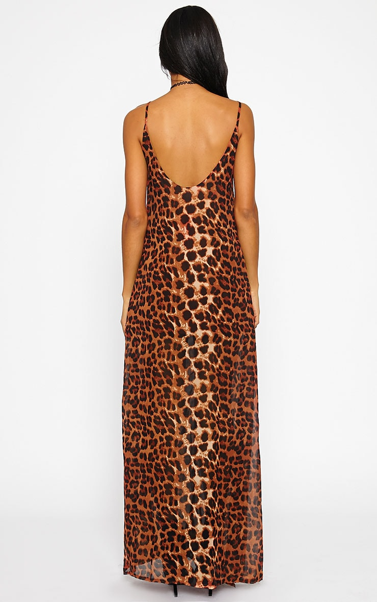 Jamila Rust Leopard Button Front Maxi Dress 2