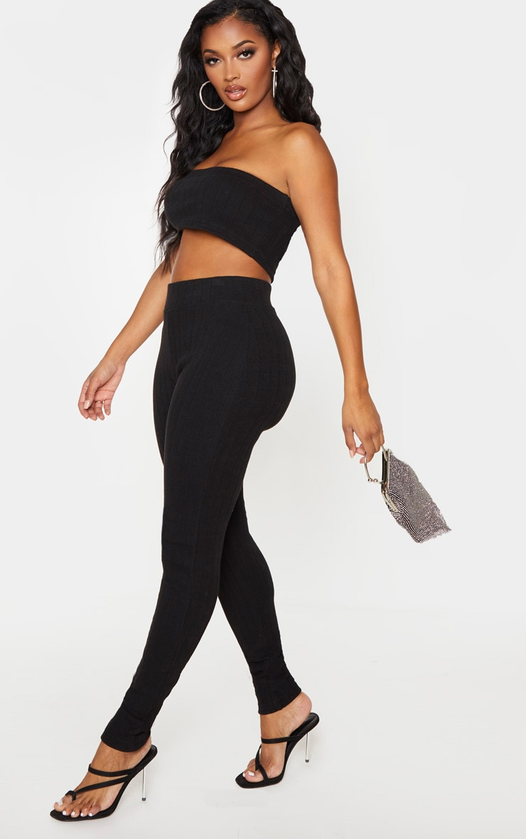 Shape Black Rib High Waist Leggings