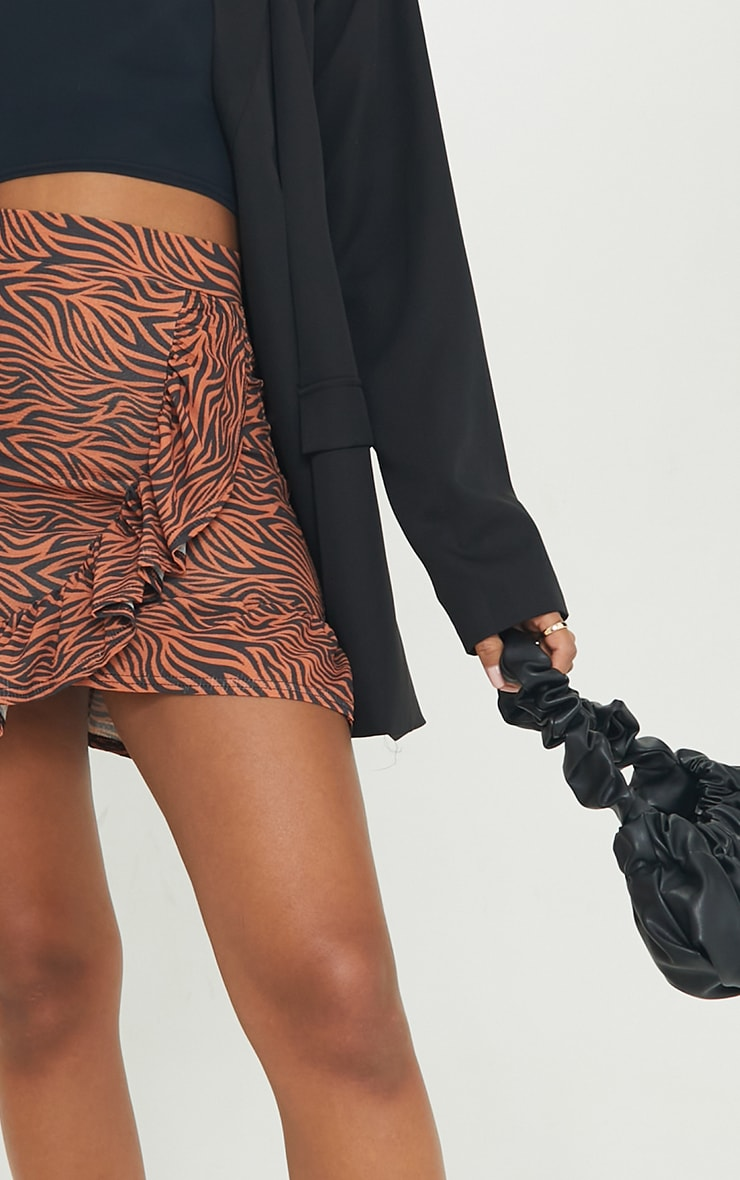 Rust Zebra Print Frill Hem Wrap Mini Skirt 5