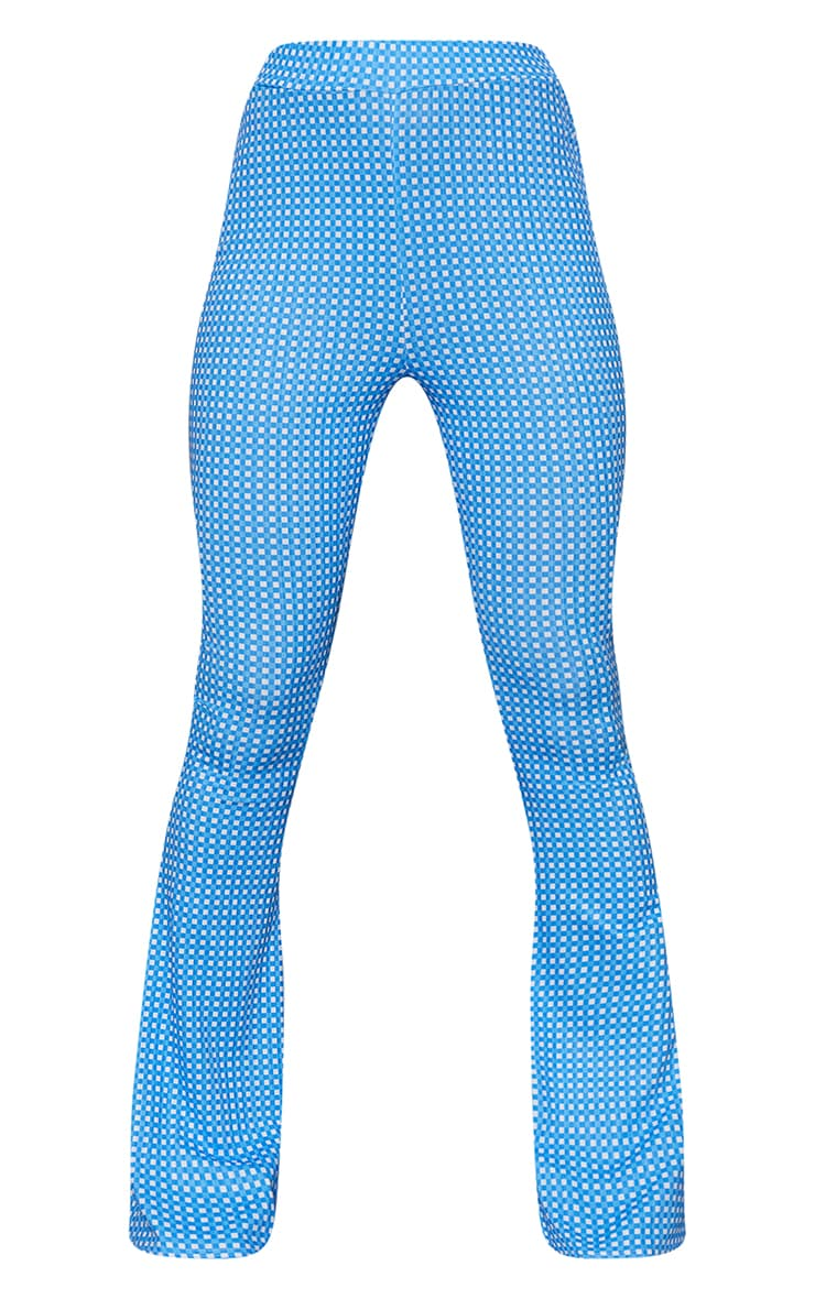 Blue Gingham Ribbed Flared Pants 5