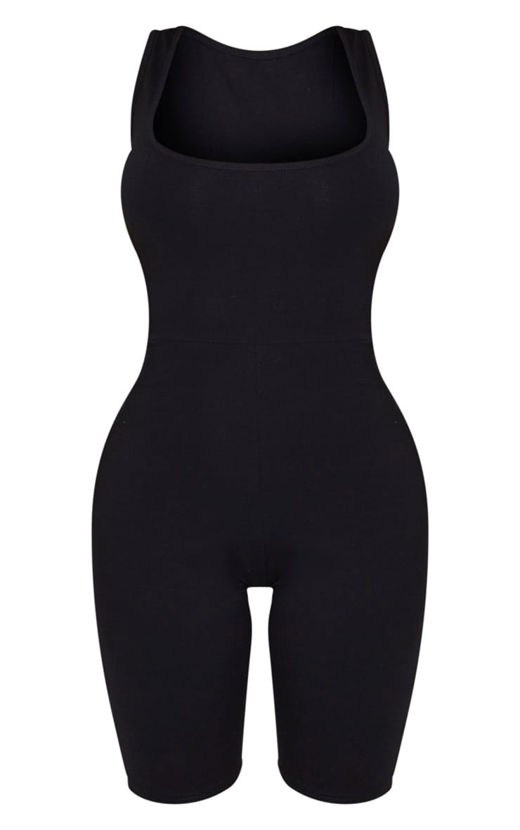 Shape Black Cotton Scoop Neck Unitard 5