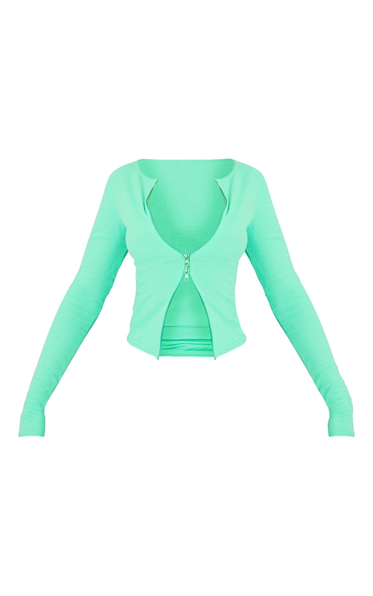 Bright Green Soft Brushed Rib Double Zip Front Top 5