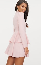 Dusty Pink High Neck Tiered Skater Dress 2