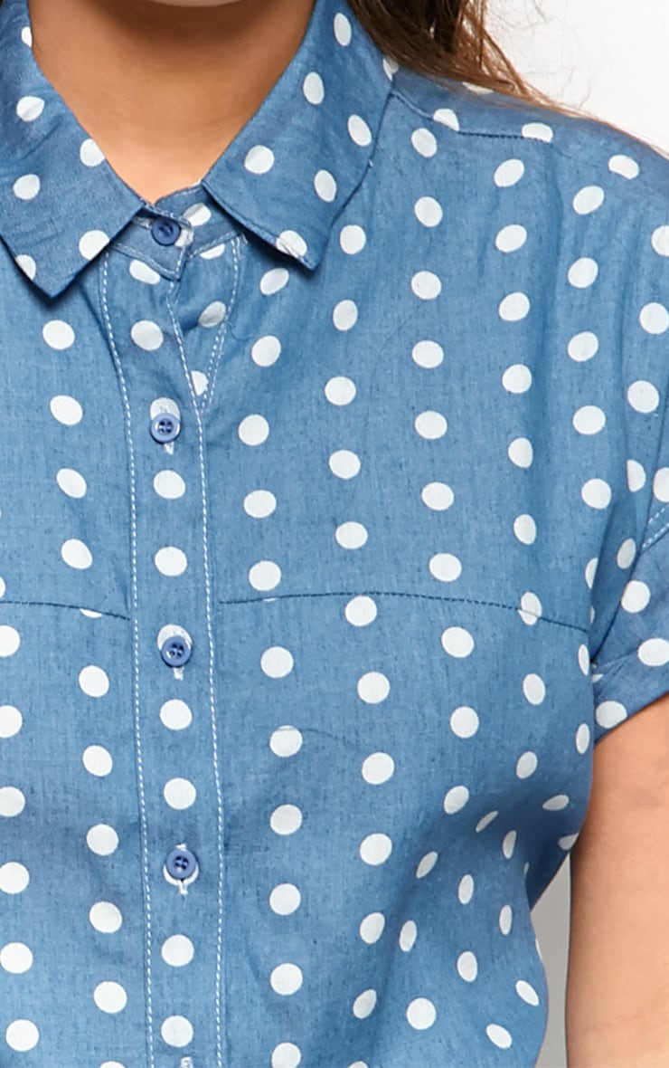 Trixie Blue Polka Dot Denim Shirt Dress 6