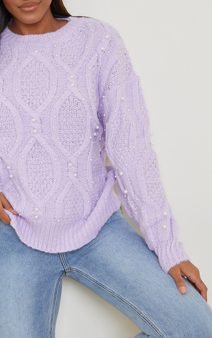 Lilac Premium Embellished Cable Sweater 4