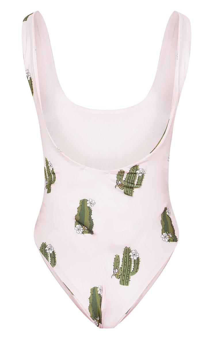 Petite Baby Pink Cactus Printed Swimsuit 4