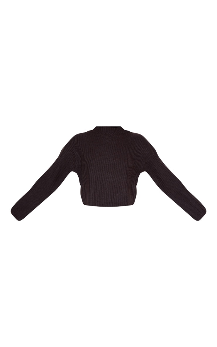 Black Cropped Ribbed Knitted Jumper 3
