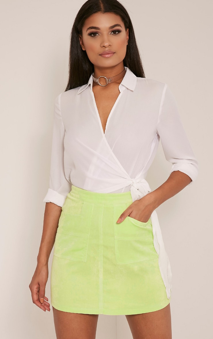 Connie Lime Cord Pocket Mini Skirt 1