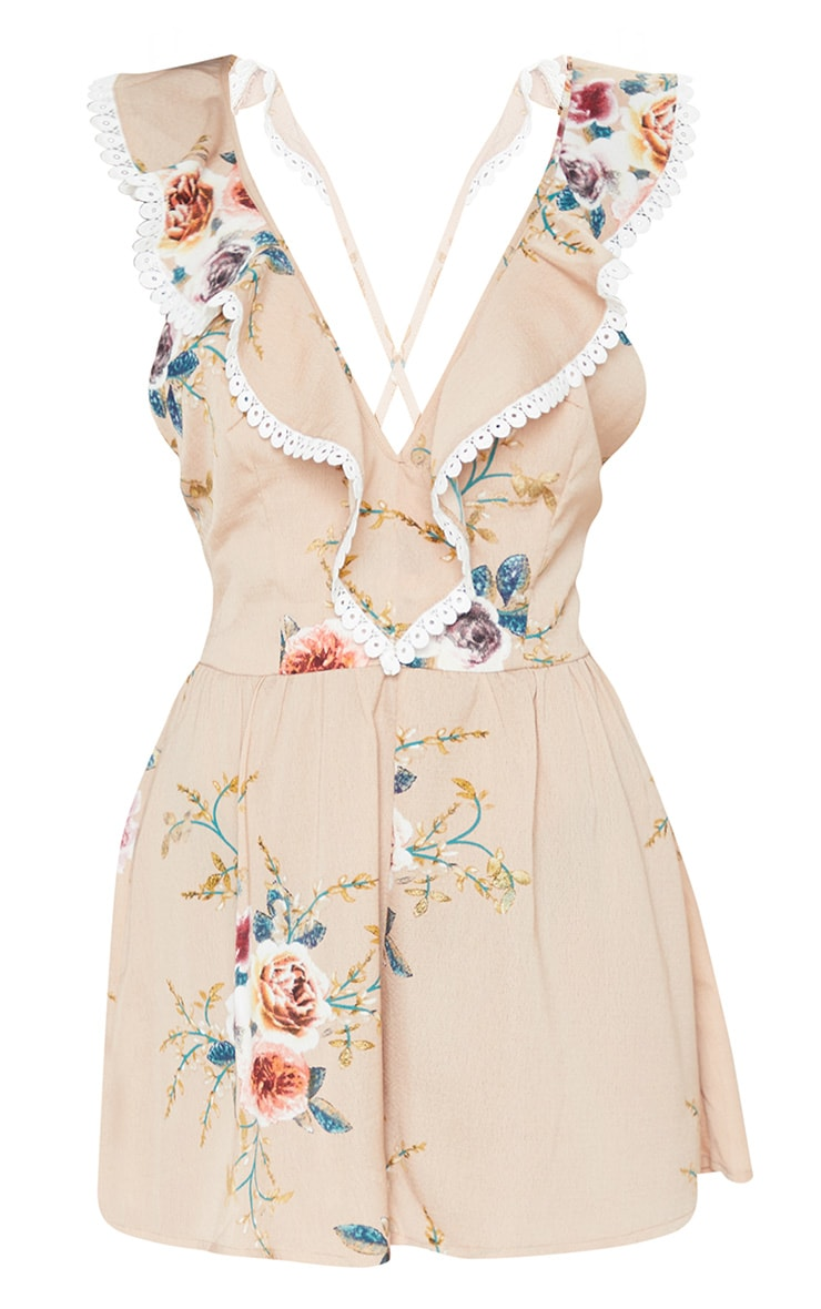 Nude Floral Print Lace Trim Tie Back Playsuit 3