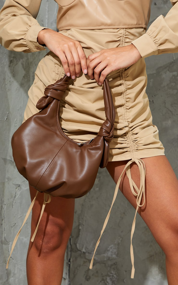 Chocolate Double Knot Rounded Shoulder Bag 1