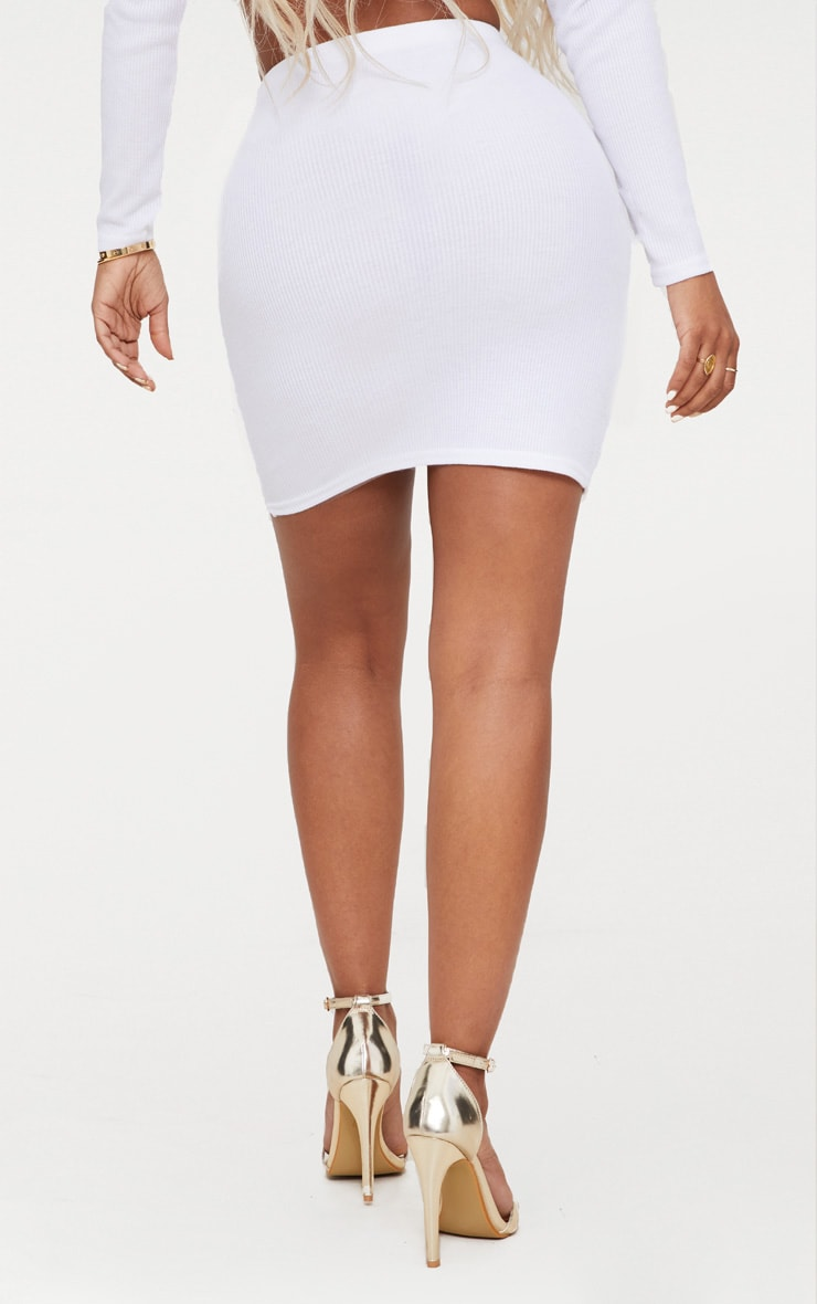 Shape White Ribbed Bodycon Skirt 4