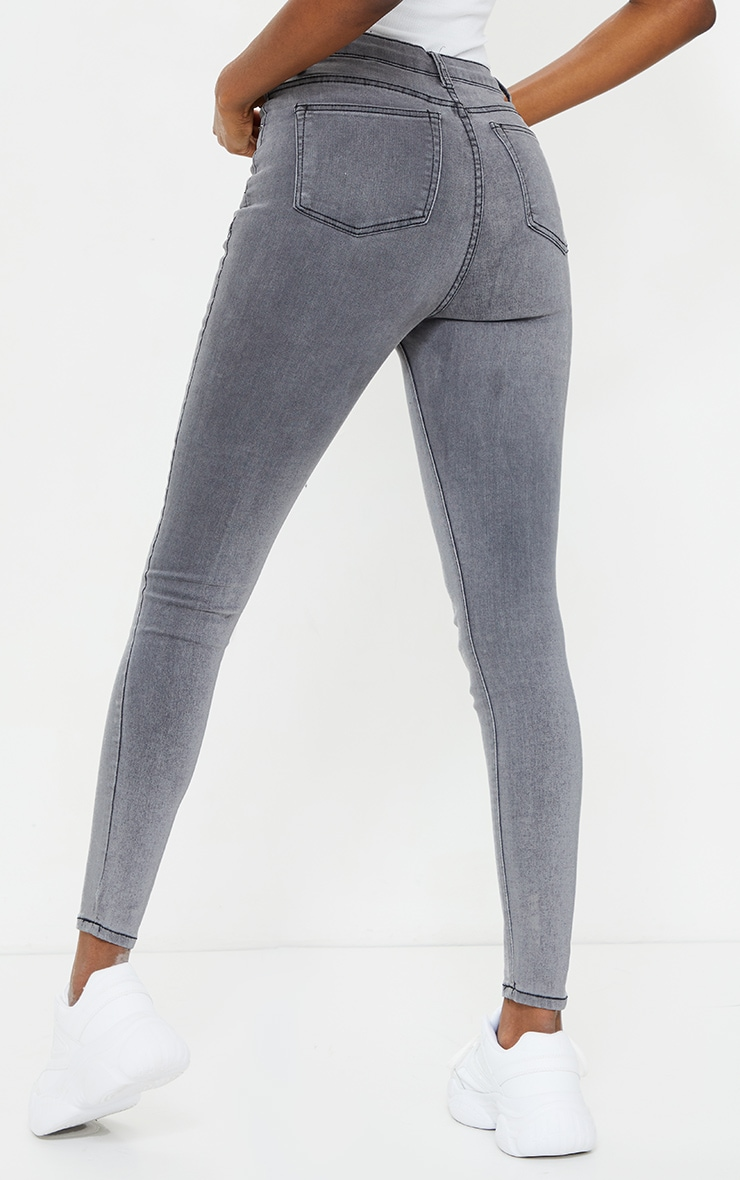 PRETTYLITTLETHING Tall Grey 5 Pocket Skinny Jean 3