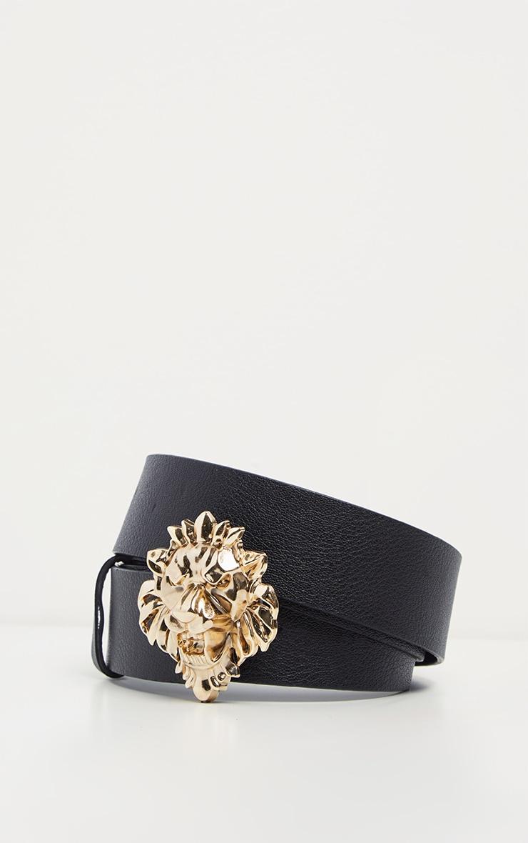 Plus Black Lion Trim Faux Leather Belt 3