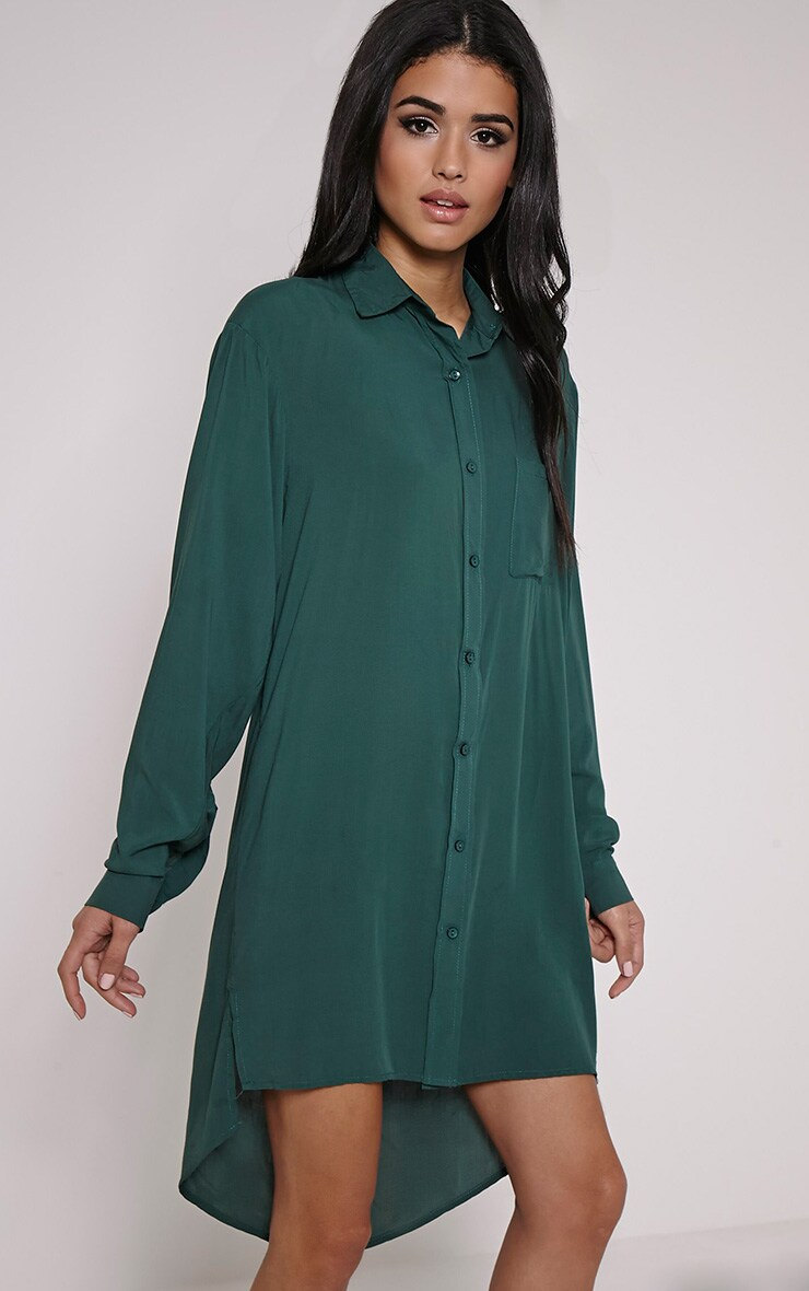 Agape Green Shirt Dress 1