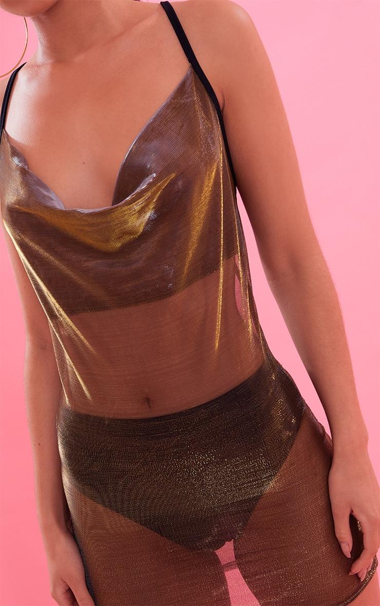 Gold Sheer Metallic Cowl Neck Bodcycon Dress 6