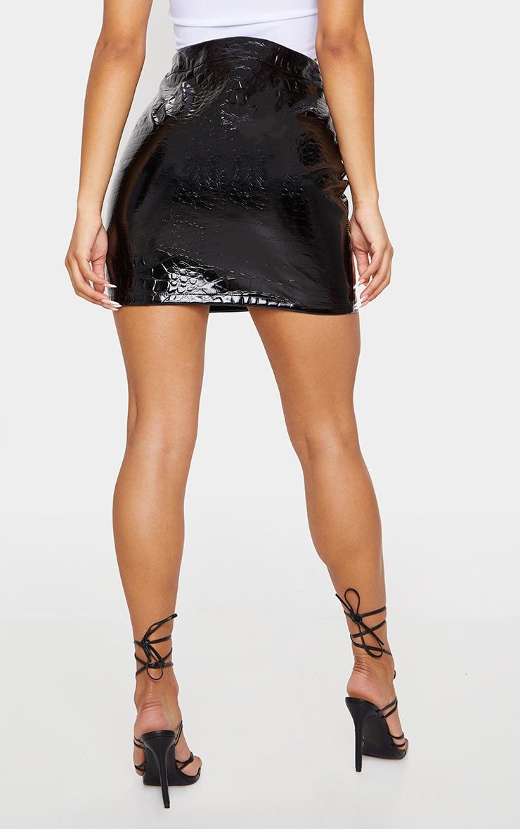 Black Croc Print Vinyl Mini Skirt 3