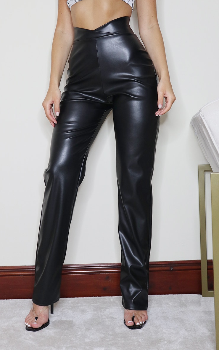Black Faux Leather V Waist Pants 2