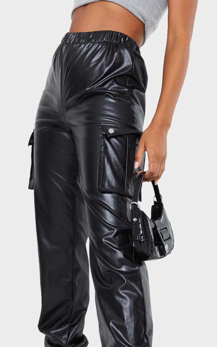 Black Faux Leather Cargo Pants 4