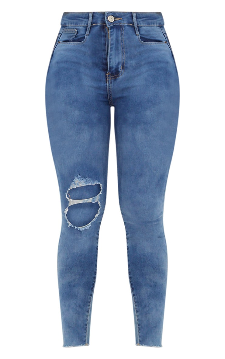 Mid Wash Double Knee Rip High Waisted Skinny Jean 3