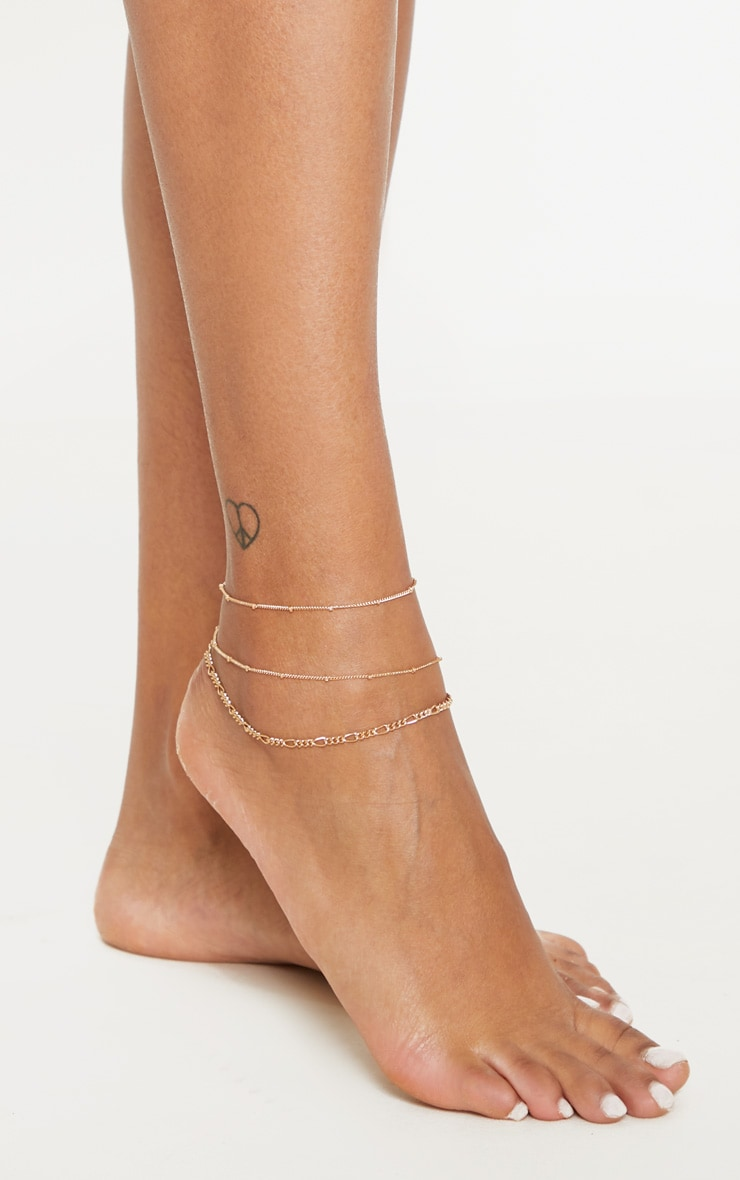 Gold Delicate Ball Chain And Disc Multi Layer Anklet 1
