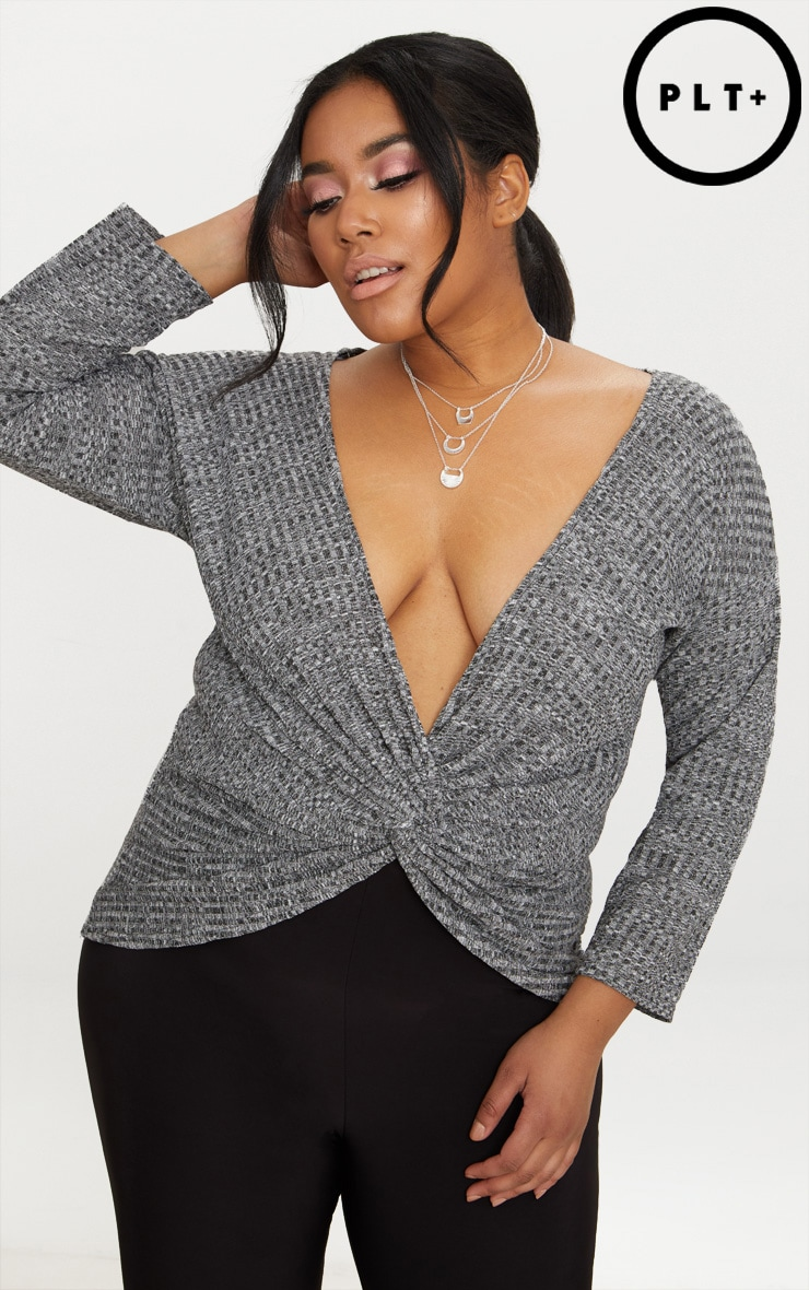 Plus Grey Marl Wrap Front Ribbed Top Pretty Little Thing Sale Sneakernews rTVaR4O