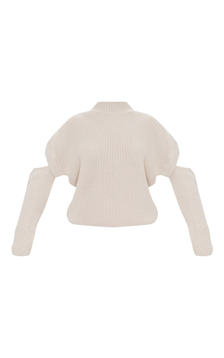 Oatmeal Cut Out Sleeve Knitted Crew Neck Sweater 5